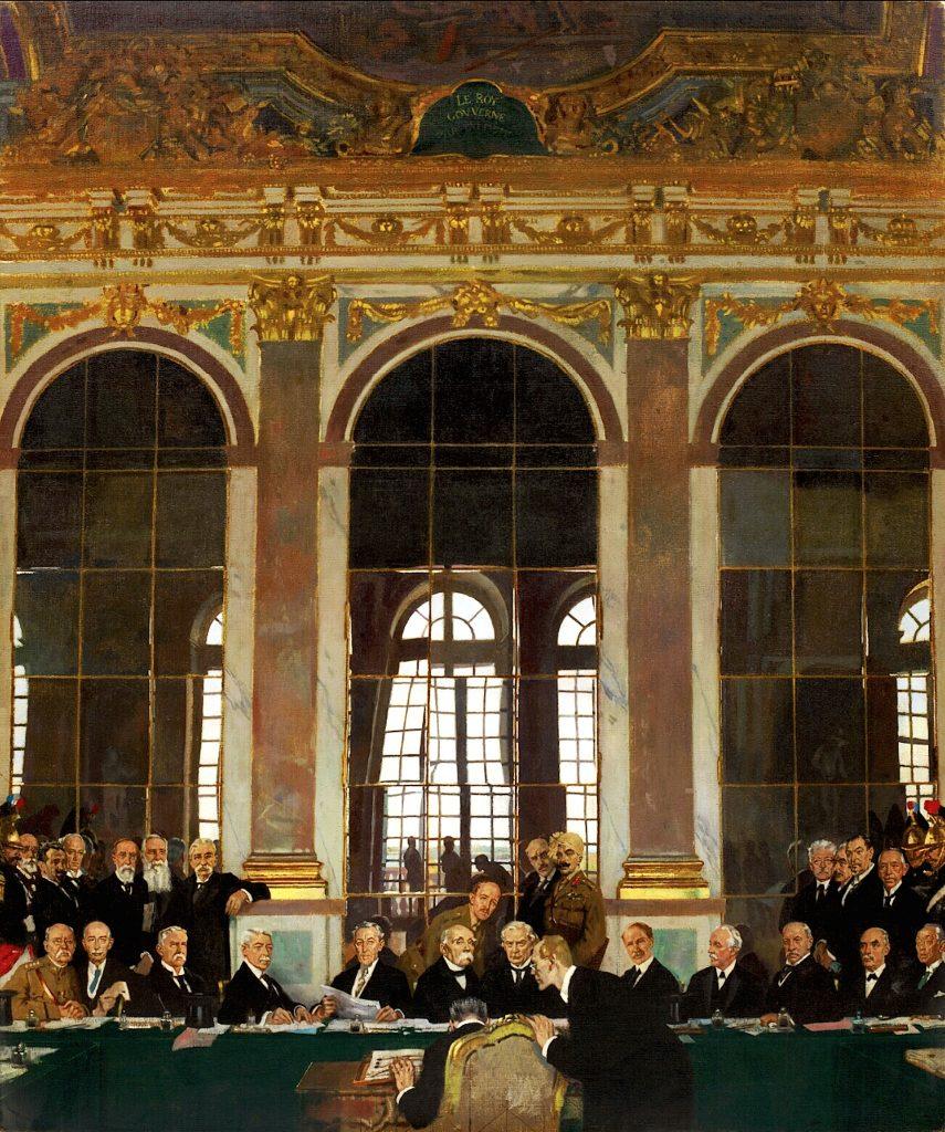 William Orpen, Vertragsunterzeichnung in der Spiegelgalerie des Schlosses von Versailles 1919 /© Wikipedia Common